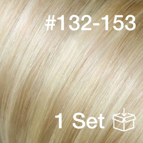 "Clip-In Extensions Set #132-153 ""White Cocoa / Sunkissed Ivory"""
